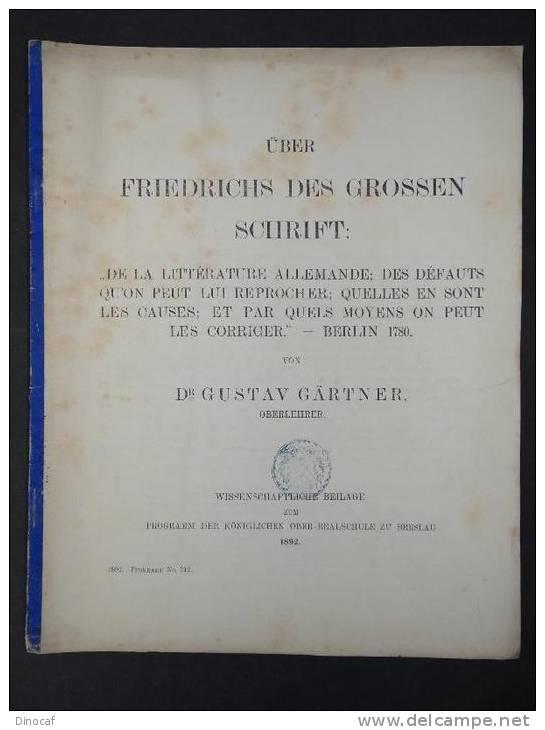 """""""Über Friedrichs Des Grossen Schrift"""", Königliche Oberrealschule, Breslau 1892, 27 Seiten - Libri, Riviste, Fumetti"""