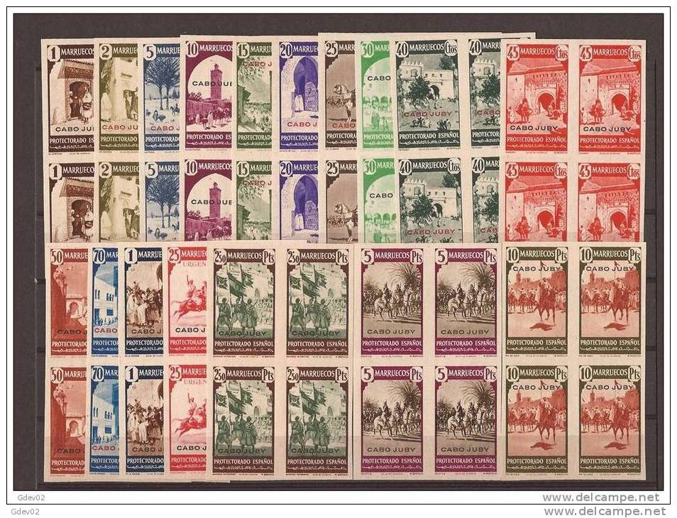 CJ116-L2055TAM. Maroc Marocco.CABO JUBY SELLOS DE MARRUECOS SOBRECARGADOS 1940(Ed 116/32s**) Sin Charnela Bl 4.LUJO - Mezquitas Y Sinagogas