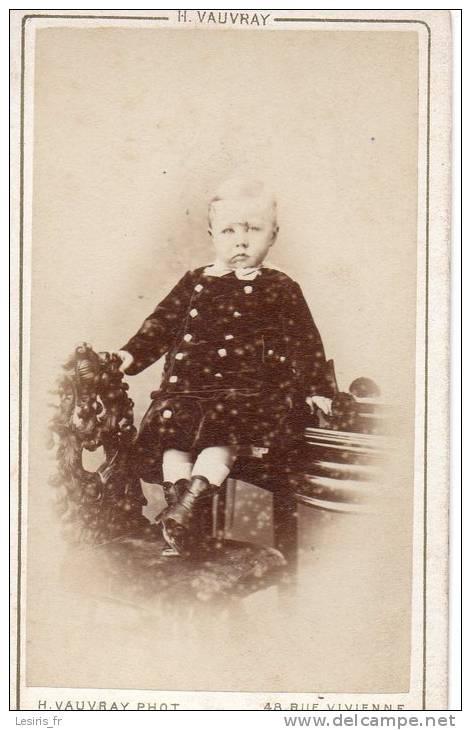 PHOTO SUR CARTON - H. VAUVRAY - PARIS - JEUNE GARCON - Ancianas (antes De 1900)