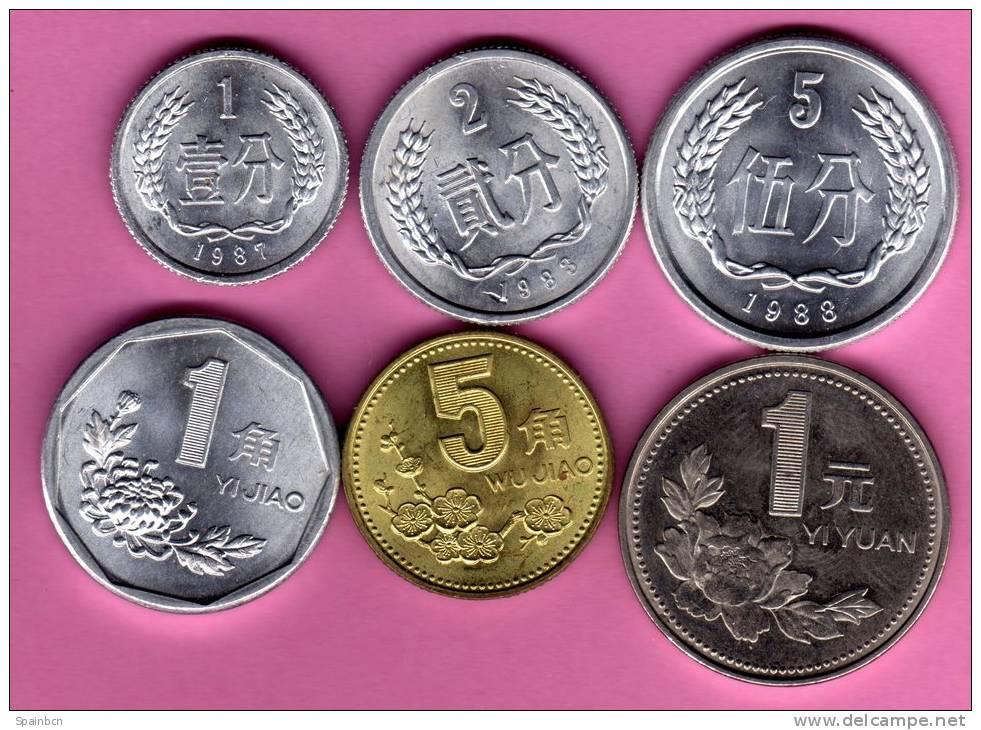China  *** LOTE  1 + 3 + 5 Fen + 1 + 5 Jiao + 1 Yuan  ***  6 Monedas / Münzen / Coins KM# 1-3 + 335-337 - China