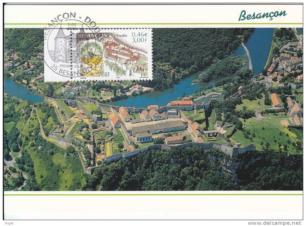 Carte-Maximum FRANCE N° Yvert 3387 (BESANCON) Obl Sp Ill 1er Jour (Ed Protet) - 2000-09