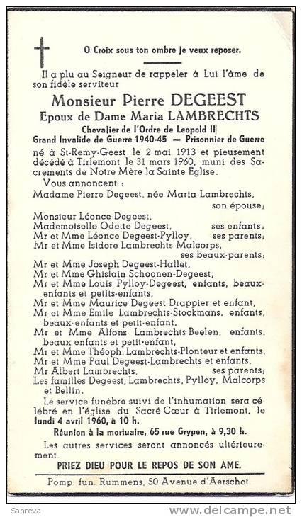 St-Remy-Geest - Pierre Degeest  ép. M. Lambrechts -  1913 / 1960 - Images Religieuses