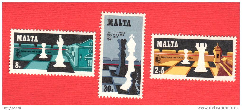 MALTE 1980 Echecs Echec Chess 609/1 Série Complète Neuve - Scacchi