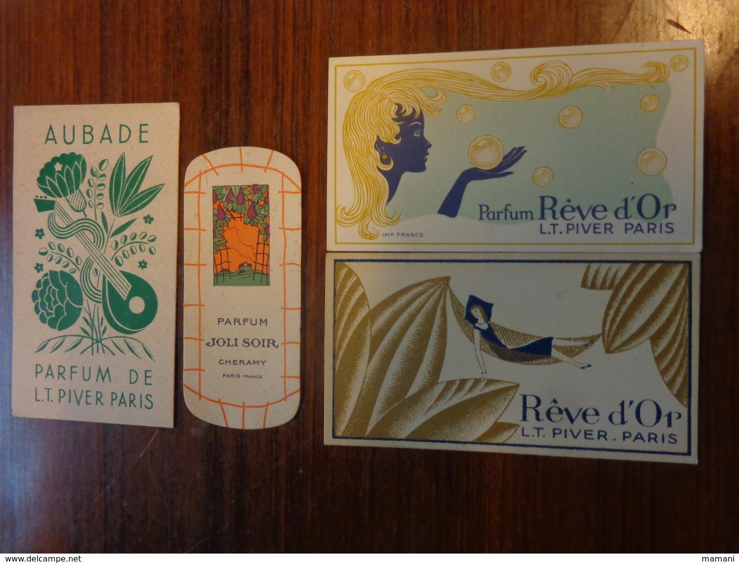 4 Carte Parfumee -parfum Reve D'or-aubade L.t. Piver Paris-joli Soir  Cheramu - Perfume Cards