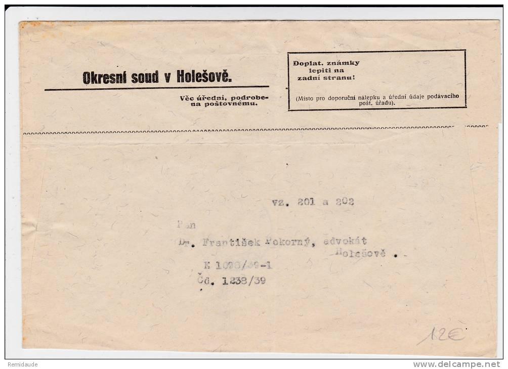 1939 - RARE ENVELOPPE Avec TAXE De TCHECOSLOVAQUIE Au Lieu De BOHEME-MORAVIE De HOLESOV - Lettres & Documents