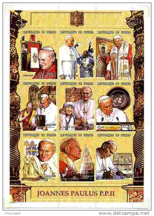 Rep. Guinée ** N° 1399 à 1407 En Feuillet - Voyages De S.S. Le Pape Jean Paul II - Guinea (1958-...)