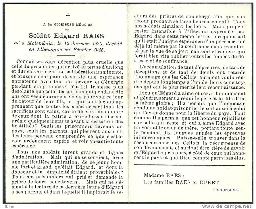 Molembaix  Allemagne   Soldat Edgard Raes  12.01.1920 - Fevrier 1945 - Images Religieuses
