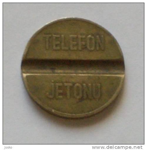 TELEFON  JETONU PTT  ( Turkey - Vintage Phone Token ) Jeton Ficha Spielmarke Gettone Telephone Phones Telefono Telefon - Other