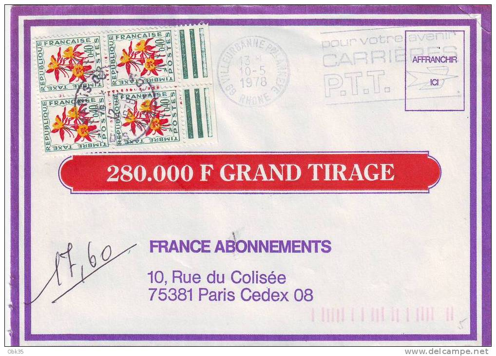 LETTRE TAXE VILLEURBANNE RHONE 1978 - Taxes
