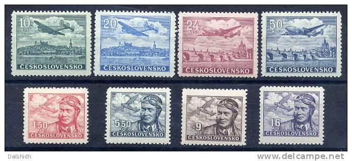 CZECHOSLOVAKIA 1946 Airmail Set MNH / **.  Michel 493-500 - Czechoslovakia