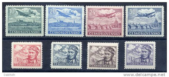 CZECHOSLOVAKIA 1946 Airmail Set MNH / **.  Michel 493-500 - Unused Stamps