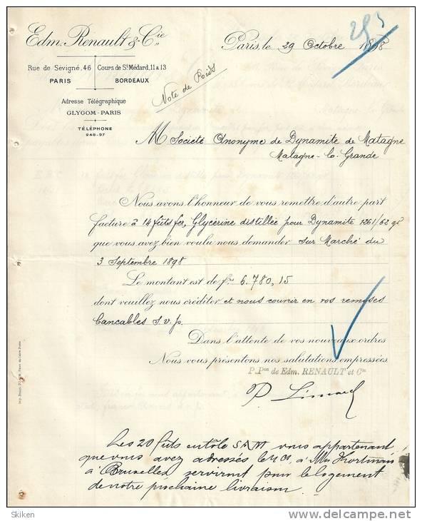 PARIS  Edm RENAULT & Cie     NOTE DE POIDS     ( 2 Pages )    29.10.1898 - France