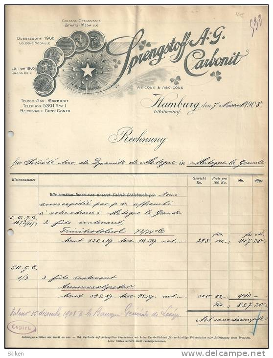 HAMBURG  SPRENGSTOFF A. G. CARBONIT   7.11.1908 - Allemagne