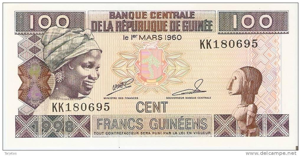 BILLETE DE LA REP. DE GUINEA DE 100 FRANCOS (BANKNOTE) NUEVO SIN CIRCULAR - Guinea