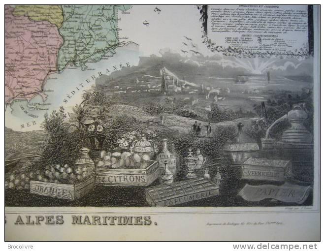 -Levasseur-1866-Carte Géographique Du Département Des Alpes Maritimes- - Geographical Maps