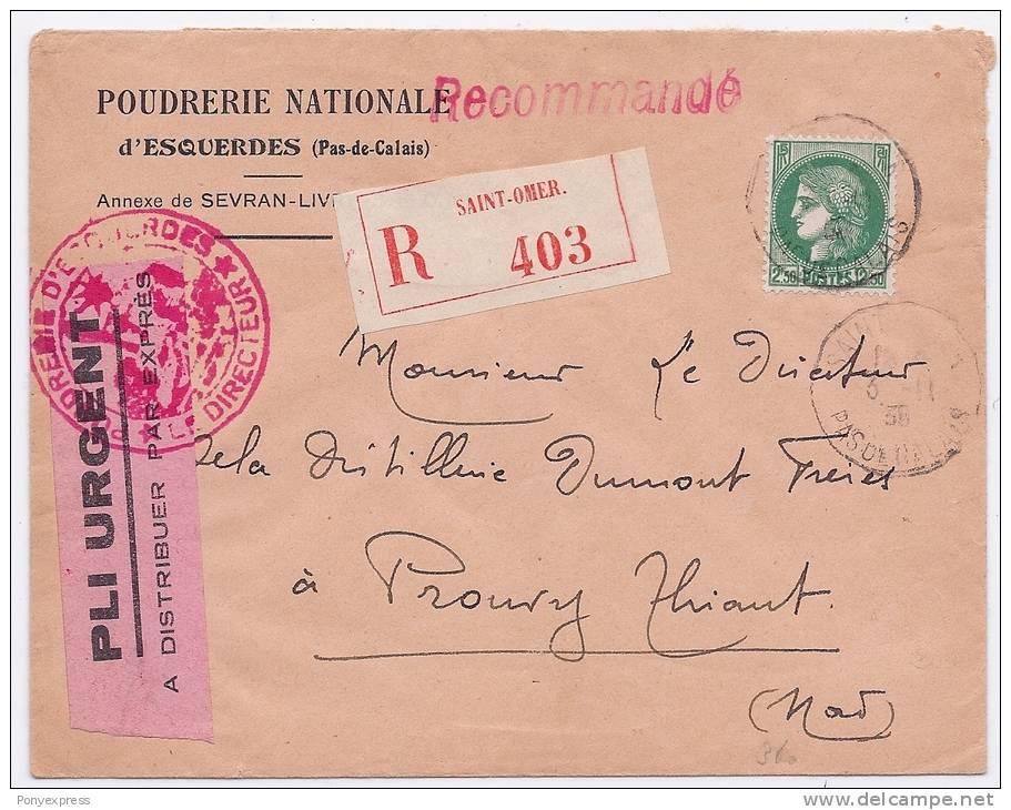 Lettre Exprès D' Esquerdes, Timbre 2F50 Cérès Pour Le Port Et Le Recommandé, 6 Nov 39 - Guerre De 1939-45