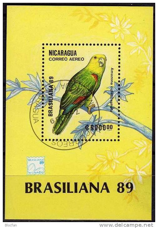 BRASILIANA 1989 Rio De Janeiro Nicaragua Block 184 O 3€ Gelbkopf-Amazone Bird Bloc Philatelic Sheet Of America - Nicaragua