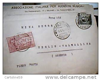 BUSTA ASS  AUDIZIONI MUSICALI STIA VB1912 ESPRESSO 25 Cent + Michetti 15 MILANO X TEGLIO SO DJ12341 - Exprespost