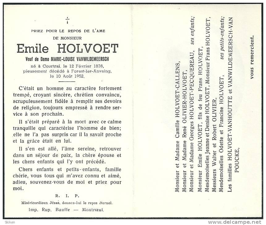COURTRAI  FOREST LEZ ANVAING   EMILE  HOLVOET  12.02.1876 - 10.08.1952 - Images Religieuses