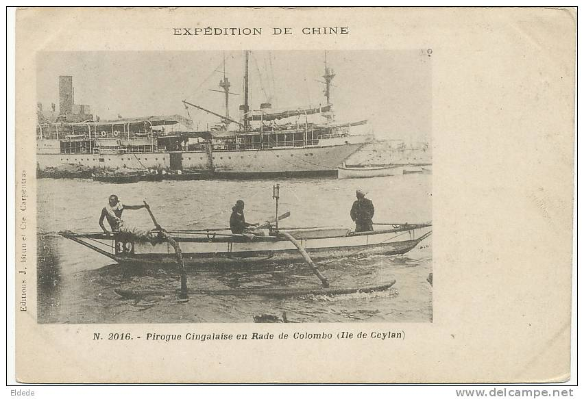 French Chinese Expedition  War Ship In Colombo Ceylan No 2016 Edit J. Brun Carpentras - Chine