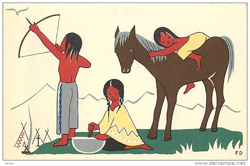 Carte Illustrée , Tie A L'arc Chez Les Petits Indiens , *135 07 - Tir à L'Arc