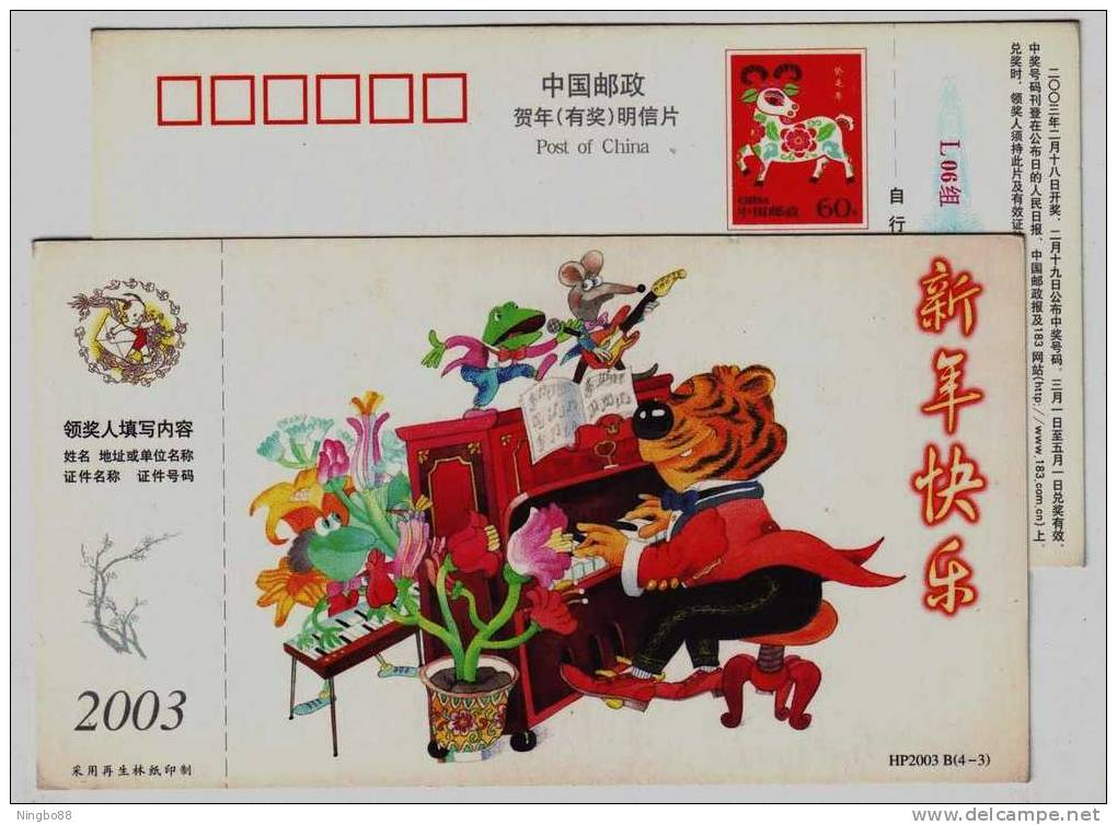Cartoon Tiger Playing Organ,frog,music,CN03 Lunar New Year Of Tiger Greeting Pre-stamped Card - Big Cats (cats Of Prey)