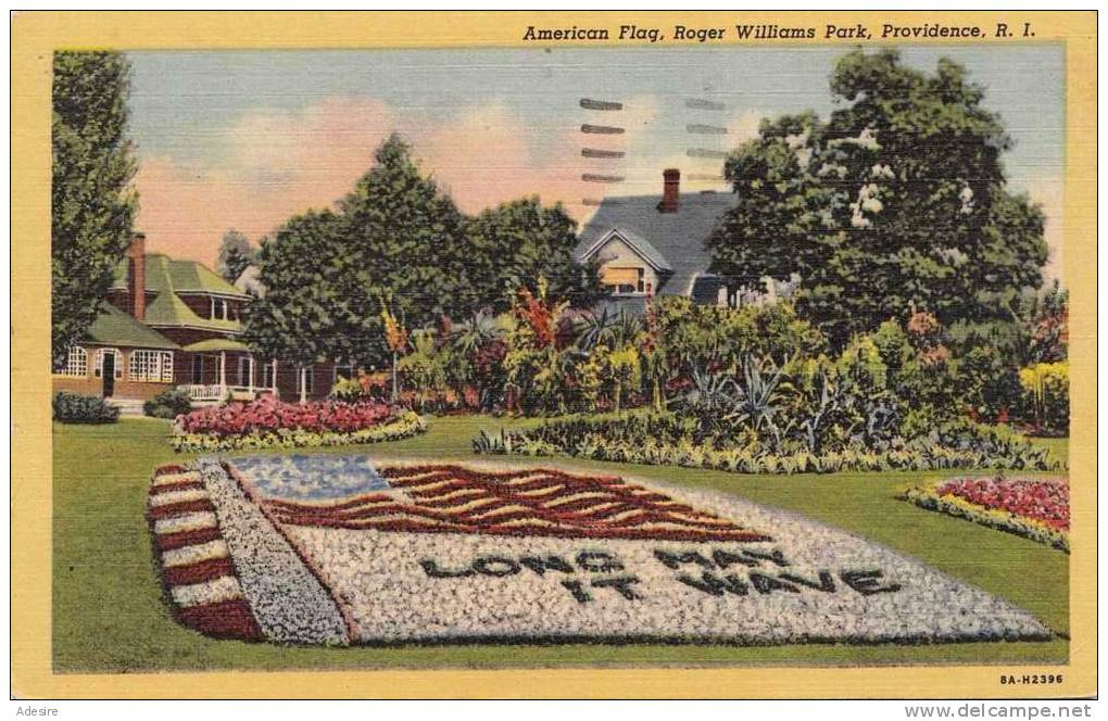 American Flag, Roger Williams Park, Providence, R.I., Gelaufen Um 1959, Gute Erhaltung, Abgelöste Marke - Ansichtskarten