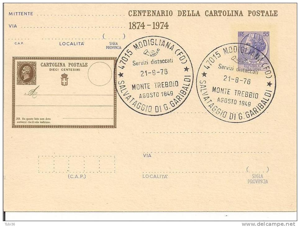 SALVATAGGIO DI G. GARIBALDI -  TIMBRO COMM. SU CARTOLINA  POSTALE  1976 - POSTE MODIGLIANA  FORLI - - 6. 1946-.. Repubblica