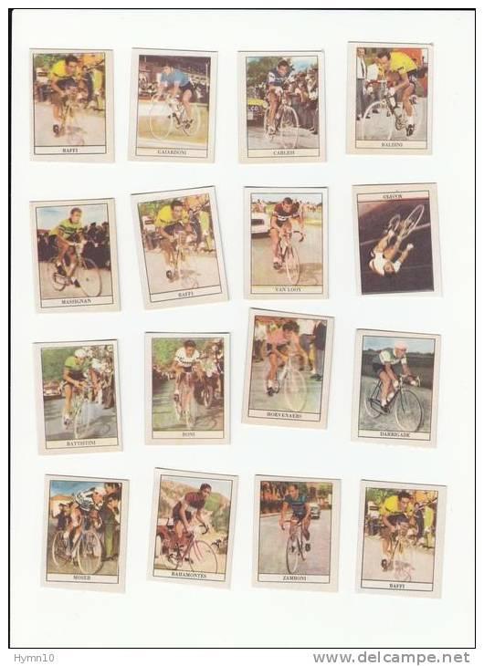 M7C35- Cyclisme 16 Figurines-vraie Photo:MASPES,BALDINI,BAFFI,GAIARDONI,BONI,MOSER,BATTISTINI,VAN LOOY,CARLES - Radsport