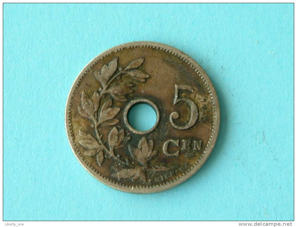 1907 VL - 5 CENT / Morin 280 ( Uncleaned Coin / For Grade, Please See Photo ) !! - 1865-1909: Leopold II