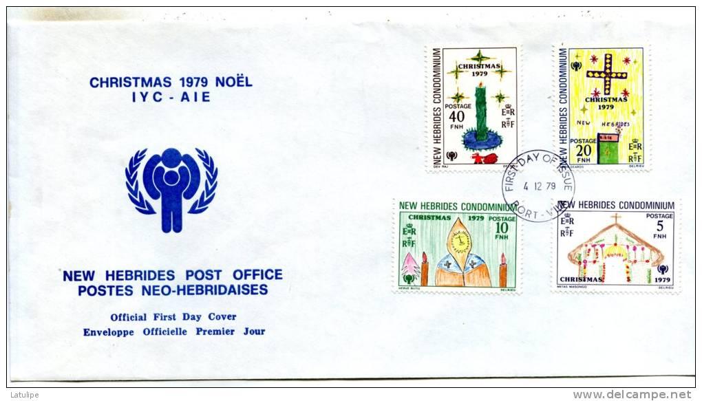 Enveloppe  Timbrée  1er Jour D'Emission  De Christmas Noel 1979 Postes Neo-Hebridaises ( Port-Vila ) - FDC