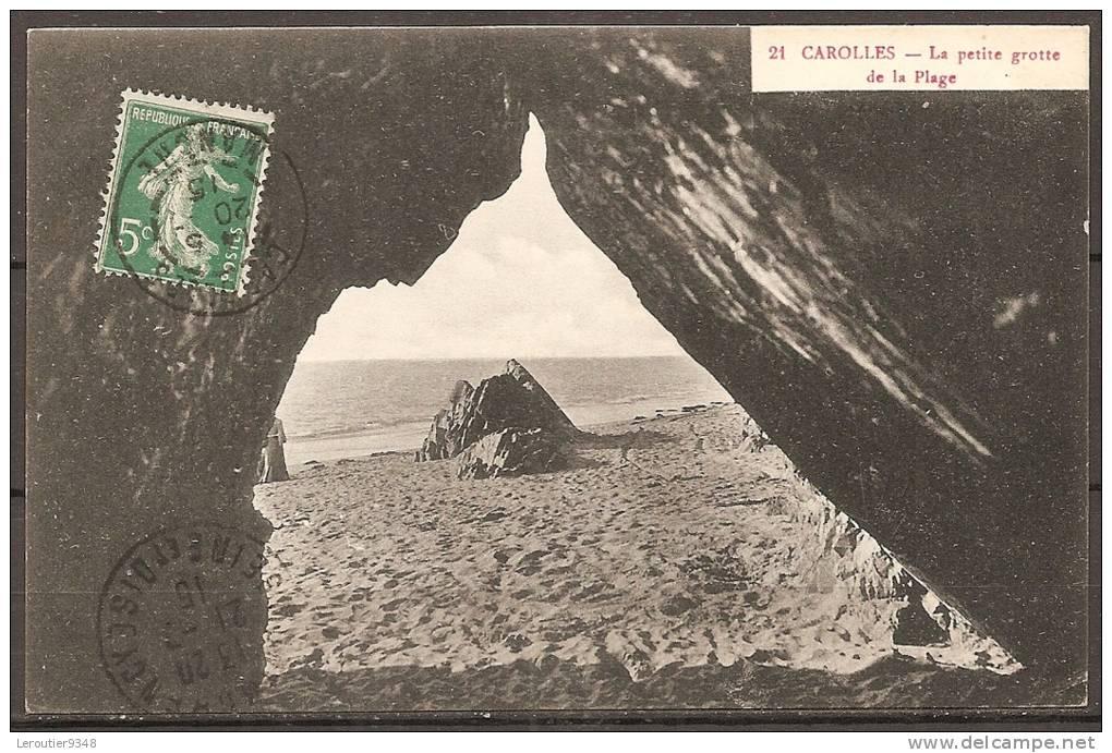 Cpa CAROLLES (50) La Petite Grotte De La Plage  (bon Etat) - Altri Comuni
