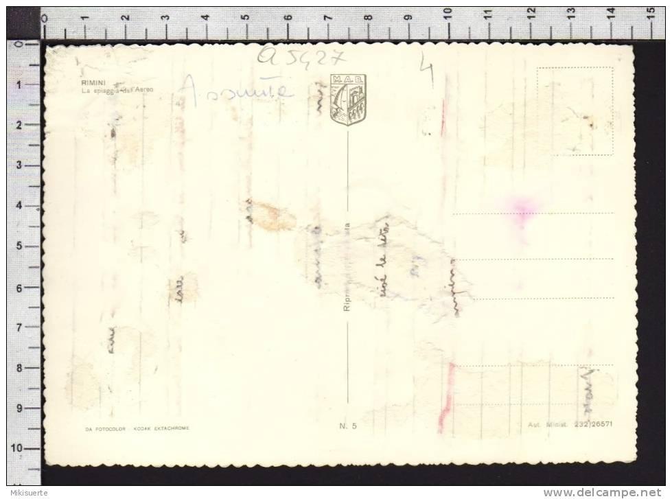 Q5427 RIMINI LA SPIAGGIA DALL´AEREO VG Carta Incollata Retro - Rimini