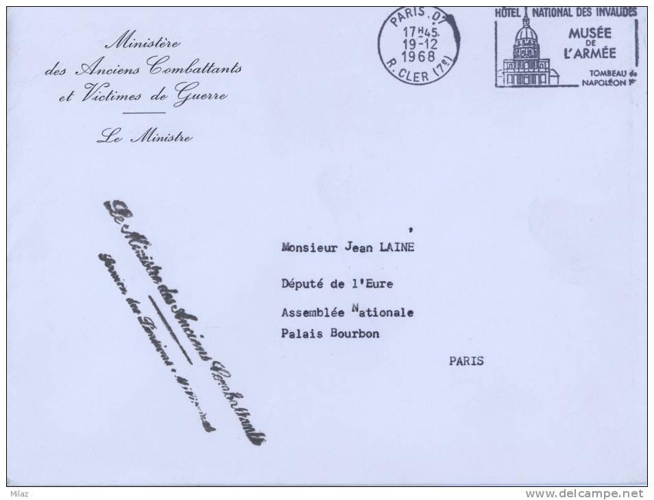 Enveloppe En Franchise (Ministère Des Anciens Combattants) De Paris Vers Paris - Décembre 1968 - Storia Postale