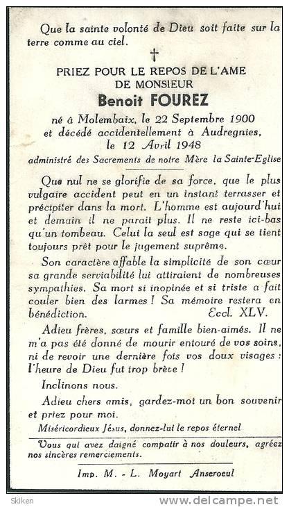 MOLEMBAIX AUDREGNIES  BENOIT  FOUREZ  22.09.1900 - 12.04.1948 - Cachets Généralité