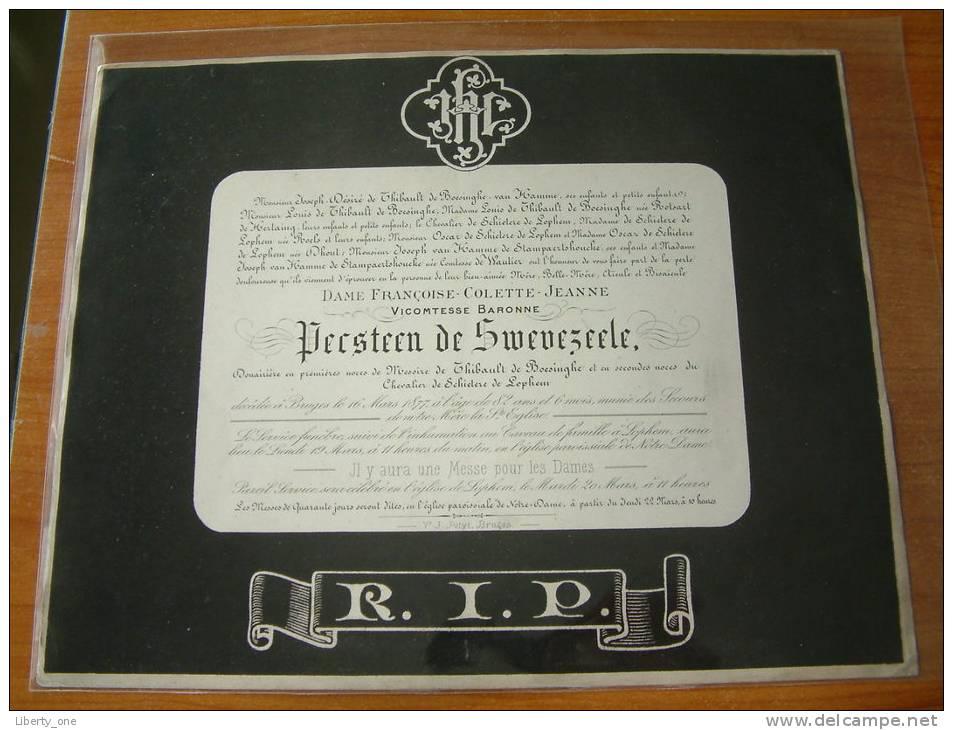 Vicomtesse Baronne PECSTEEN DE SWEVEZEELE Décédée 16 Mars 1877 à Bruges ( Doodsbrief / Nécrologie ( Details Zie Foto ) ! - Anuncios