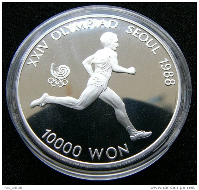 Korea South 10000 W 1986 Runner Silver Proof - Corée Du Sud
