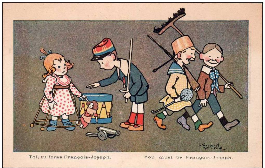 Belle Cpa Illustree Et Signee(illisible) Enfants Avec Jouets D'epoque - Autres Illustrateurs