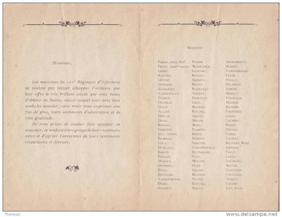 ALLOCUTION ** DEDICACEE ** M. Georges CORROYER  Chef De Musique Du 101e R.I. - 8-12 Aout 1920 - Programmes