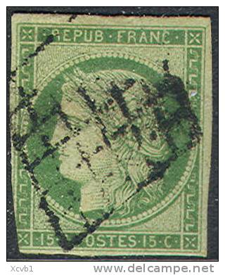 # France 2a, Used, Sound , Yellow Green, RARE (fr002a-5, Mich 2a [16-IOP - 1849-1850 Ceres