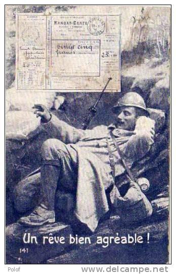 Un Reve Agreable ! Fac Simile Mandat Poste Et Soldat Dans Une Tranchee    (29829) - Monnaies (représentations)