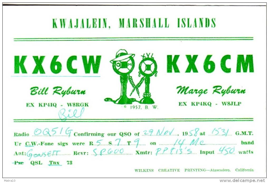 CARTE QSL CARD 1958 RADIOAMATEUR RADIO MARSHALL ISLANDS KX6 KWAJALEIN - Marshall