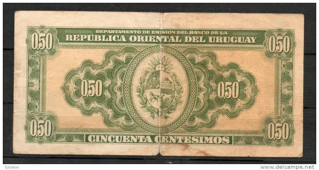 14- URUGUAY -1939 Billetes Emitidos  De 1939 A 1966 De  0.50 Peso Term. 348-Serie Q  (Ver Foto) - Uruguay