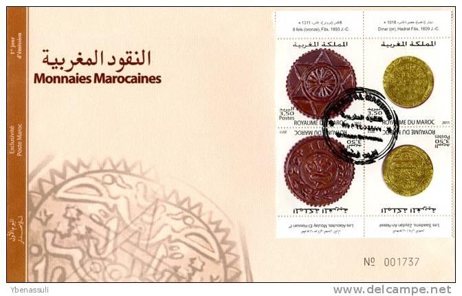 Maroc/Morocco - 2011 - FDC Luxe/VF - MA009.11: Env. 1er Jour - Monnaies Marocaines - 2 - Morocco (1956-...)