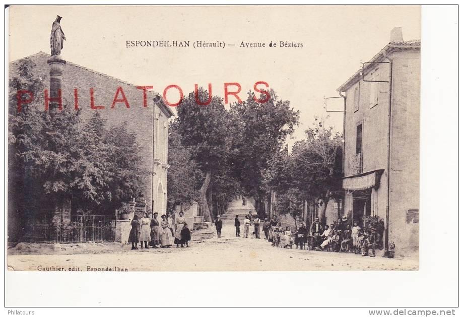 ESPONDEILHAN  /  AVENUE DE BEZIERS  1920  (CPA Animée SUPERBE) - France