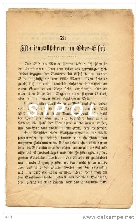 Die Marienwallfahrten Im Ober Elsass Texte Complet Sur 16 Pages De L.Winterer- Couverture En Très Mauvais état - Christianisme