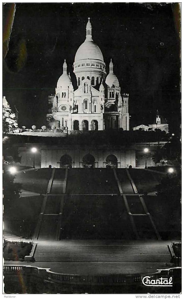 PA28  PARIS  NUIT  AU  SACRE COEUR  CARTE PHOTO Par  CHANTAL PARIS  MONTMARTRE .. En 1900 Voir Dos - Arrondissement: 18