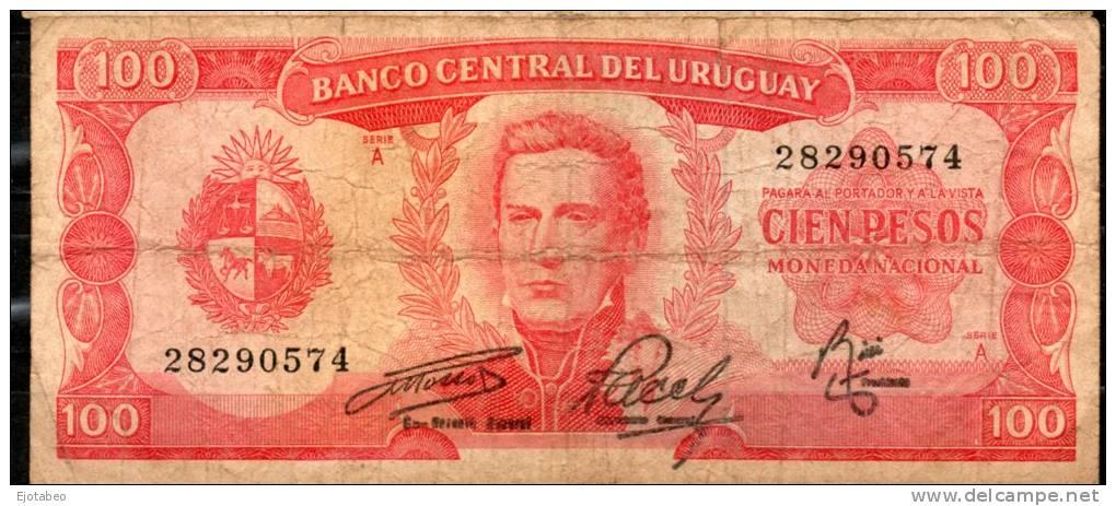 29 URUGUAY -1967 Billetes Emitidos  Por El Bco Central Por  100.00 PesosSerie  A  (Ver Foto) - Uruguay