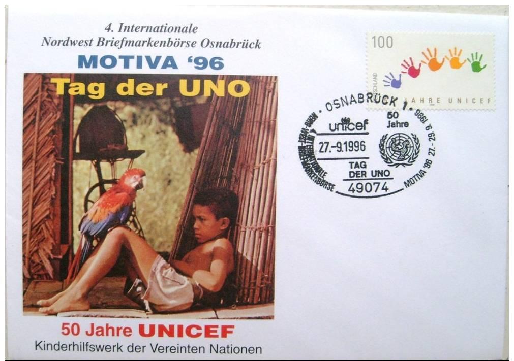 Lettre Allemagne 1996 Onu Osnabrück Unicef Perroquet - UNICEF