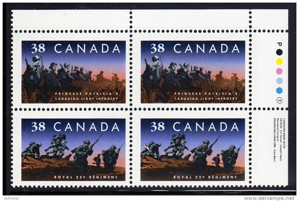 Canada Scott #1250ii MNH 38c Regiments Upper Right Inscription Block - Num. Planches & Inscriptions Marge